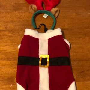 Small dog Santa outfit with reindeer antlers